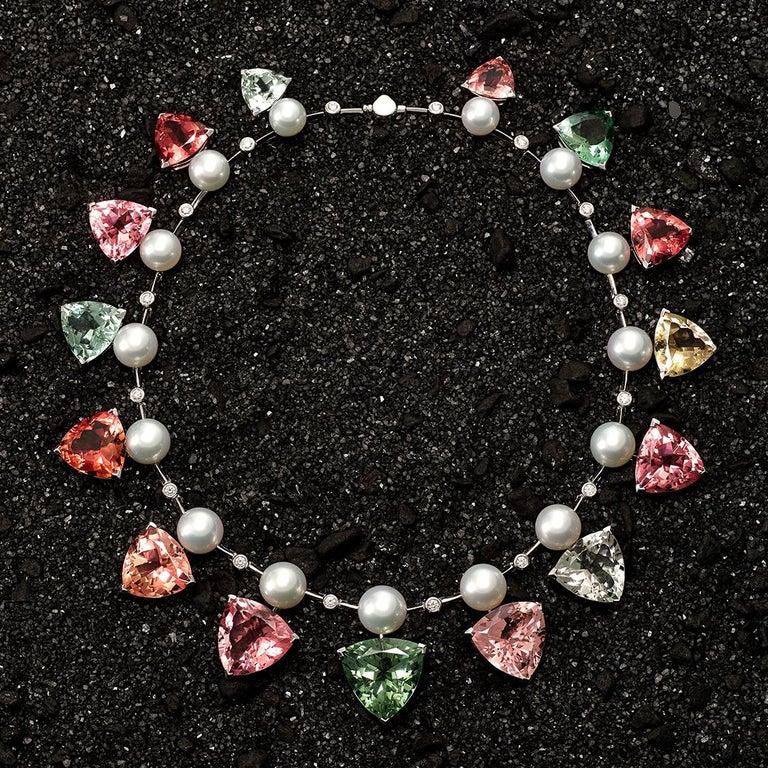 Modern 237 Carat Multicoloured Tourmalines 1.27 Carat Diamonds and Pearl Necklace For Sale