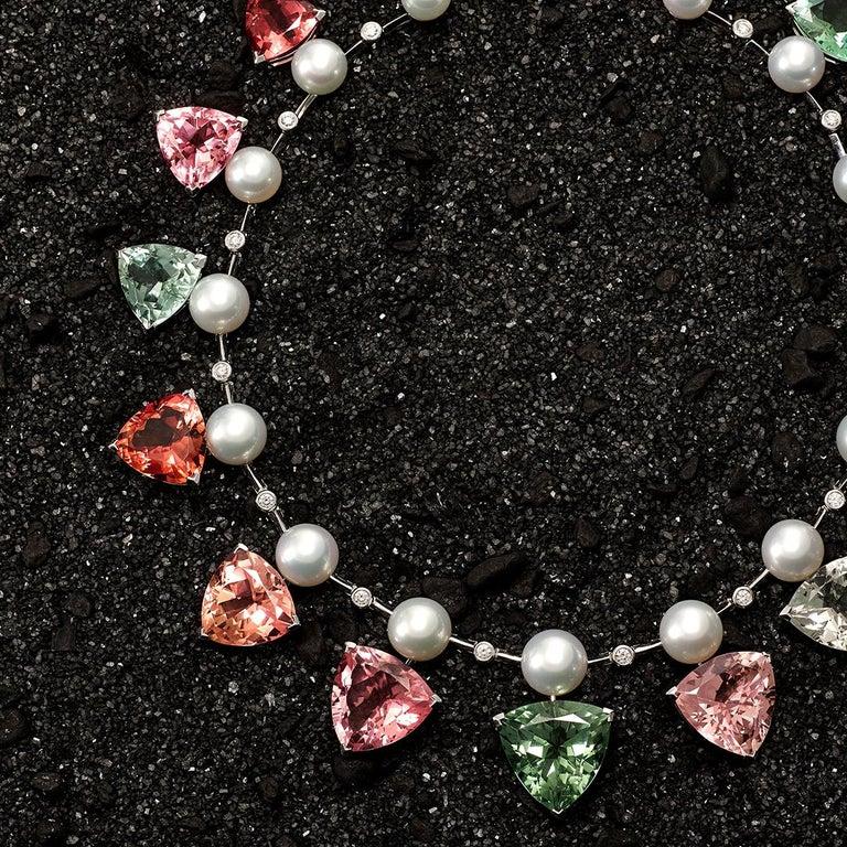 Trillion Cut 237 Carat Multicoloured Tourmalines 1.27 Carat Diamonds and Pearl Necklace For Sale