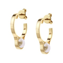 Nathalie Jean Contemporary Yellow Gold Pearl Hoop Earrings