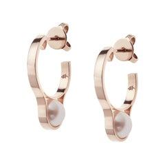 Nathalie Jean Gold Pearl Hoop Earrings
