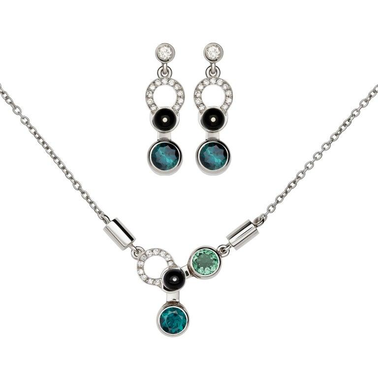 Nathalie Jean Diamond Tourmaline Onyx 18k White Gold Pendant and Earrings Set