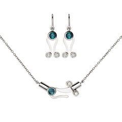 Nathalie Jean Diamond Tourmaline 18 Karat White Gold Pendant and Earrings Set