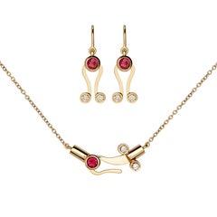 Nathalie Jean Diamond Tourmaline 18 Karat Gold Articulated Pendant Earrings Set