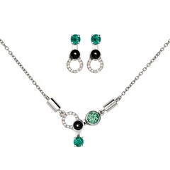 Nathalie Jean Diamond Emerald Tourmaline Onyx White Gold Pendant & Earrings Set