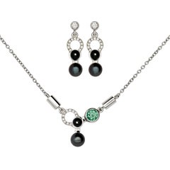 Nathalie Jean Diamond Tourmaline Pearl Onyx White Gold Pendant and Earrings Set