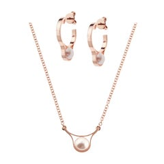 Nathalie Jean 18 Karat Pink Gold Pearl Pendant Necklace and Earrings Set
