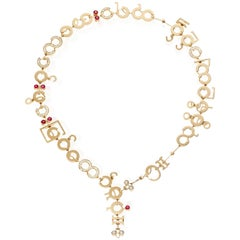 Nathalie Jean Contemporary 1,75 Carat Diamond Ruby Rose Gold Chain Drop Necklace