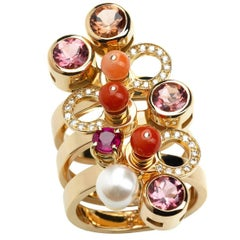 Nathalie Jean Diamond Ruby Tourmaline Pearl Coral Gold Articulated Stack Ring