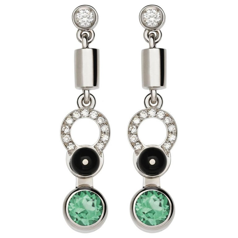 Nathalie Jean 0,21 Carat Diamond Tourmaline Onyx White Gold Drop Dangle Earrings