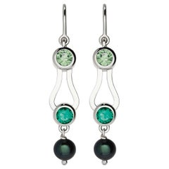 Nathalie Jean Emerald Tourmaline Pearl 18 Karat White Gold Drop Earrings