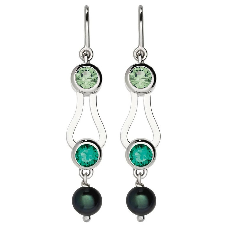 Nathalie Jean Emerald Tourmaline Pearl White Gold Drop Dangle Earrings