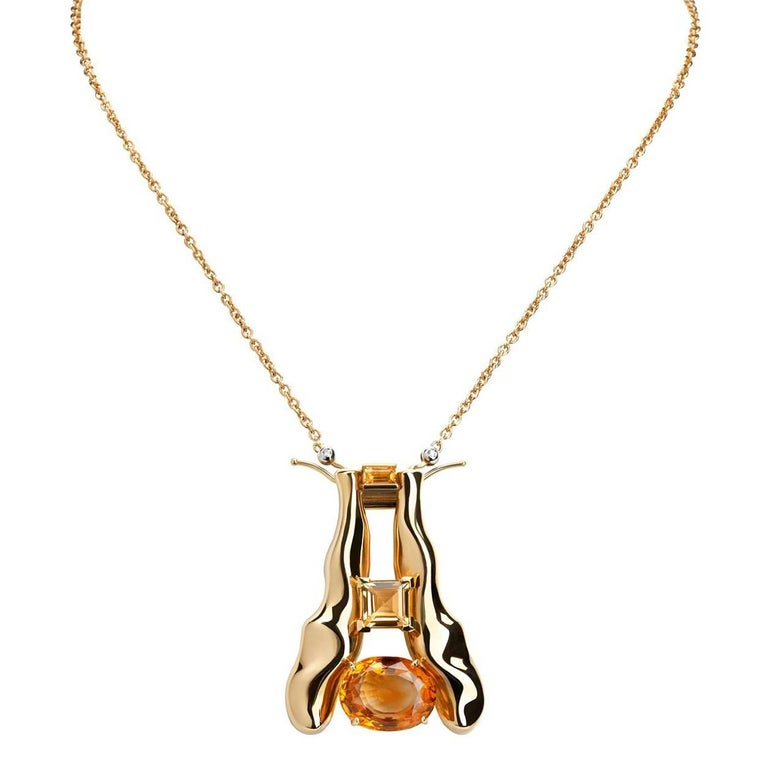 Nathalie Jean Quartz Gold Limited Edition Brooch & Pendant Chain Necklace