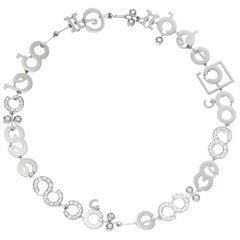Nathalie Jean Contemporary 2,43 Carat Diamond White Gold Choker Link Necklace