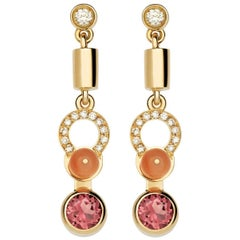 Nathalie Jean 0,21 Carat Diamond Tourmaline Coral Rose Gold Drop Dangle Earrings