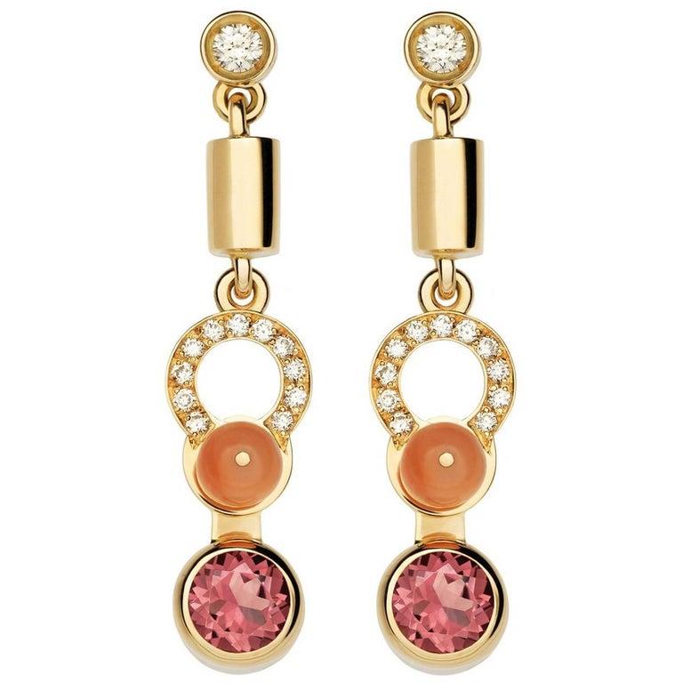 Nathalie Jean 0,21 Carat Diamond Tourmaline Coral Rose Gold Drop Dangle Earrings