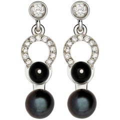 Nathalie Jean 0.21 Carat Diamond Pearl Onyx White Gold Drop Dangle Earrings