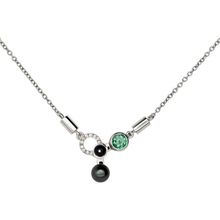 Nathalie Jean 0.055 Carat Diamond Tourmaline Pearl Onyx Gold Pendant Necklace