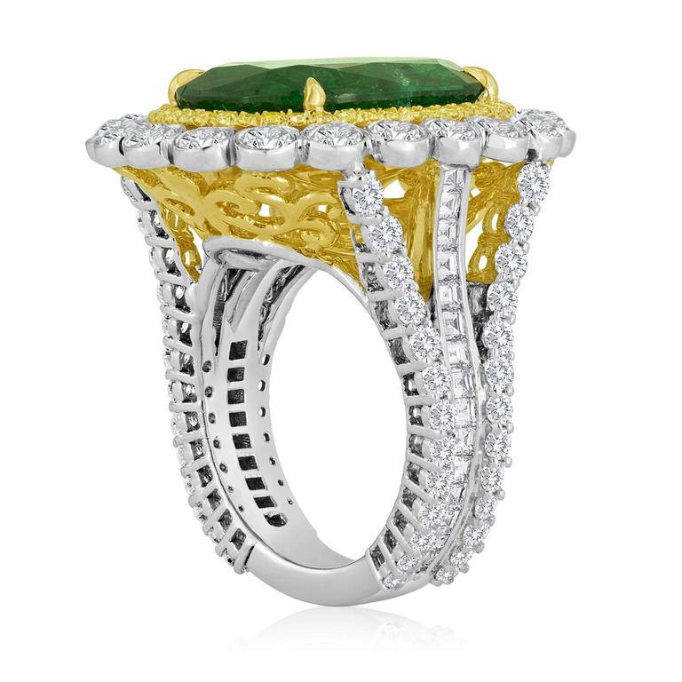 Contemporary GIA Certified Emerald Diamond Double Halo Two Color Gold One of a Kind Ring For Sale