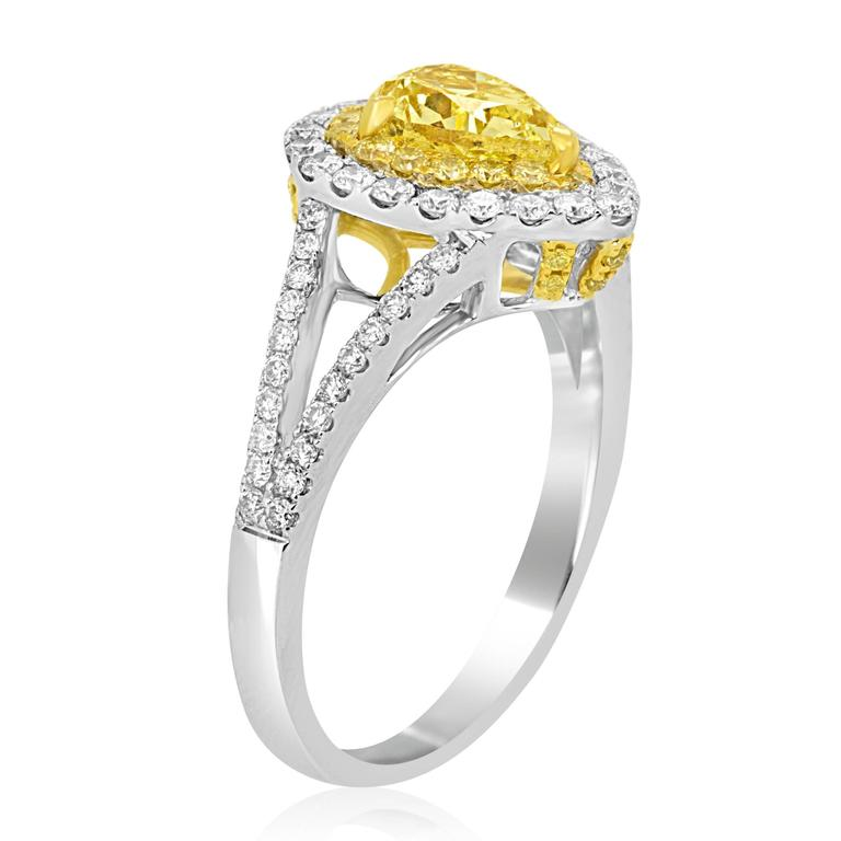 Modern Natural Fancy Yellow Diamond Double Halo Two-Color Gold Ring For Sale