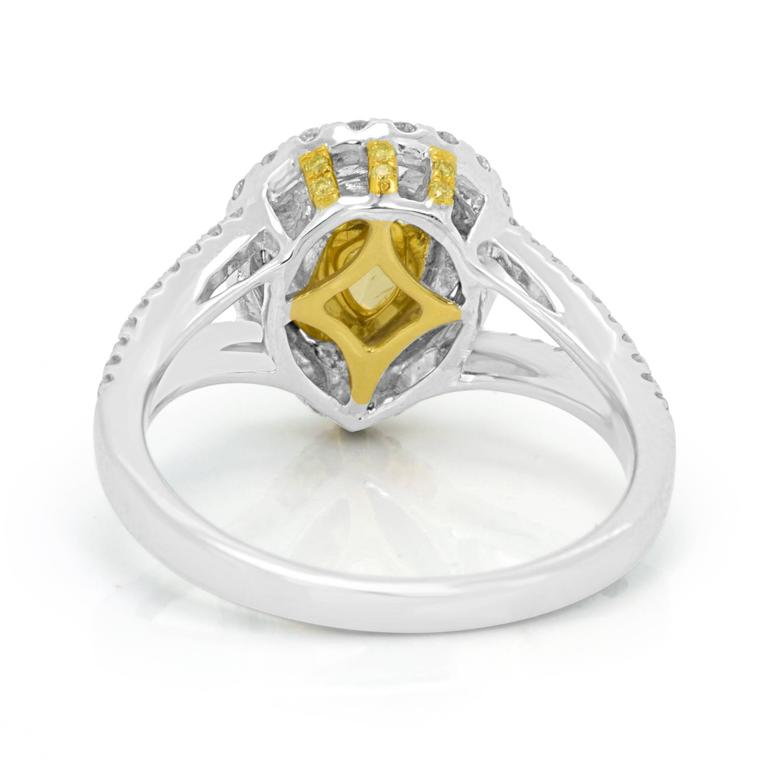 Women's Natural Fancy Yellow Diamond Double Halo Two-Color Gold Ring For Sale