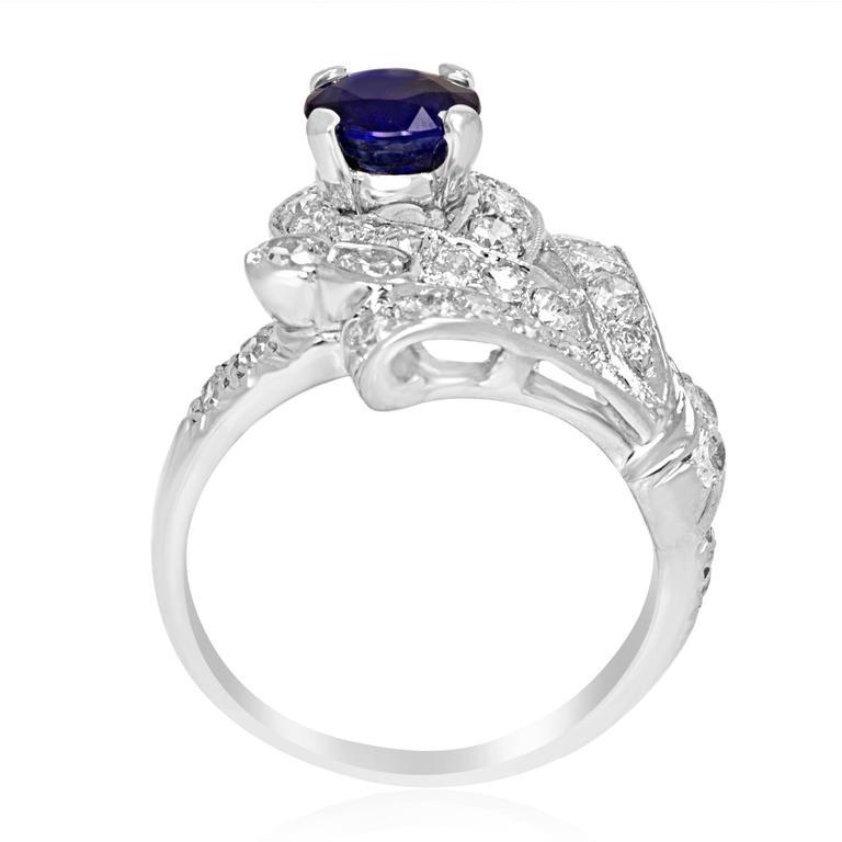 Sapphire Diamond Platinum Ring For Sale 1
