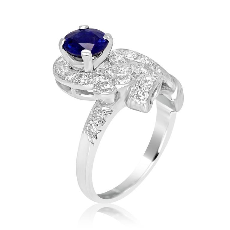 Women's Sapphire Diamond Platinum Ring For Sale