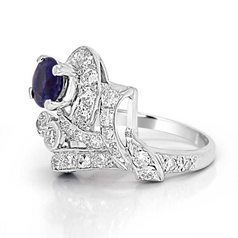 Sapphire Diamond Platinum Ring In New Condition For Sale In NEW YORK, NY