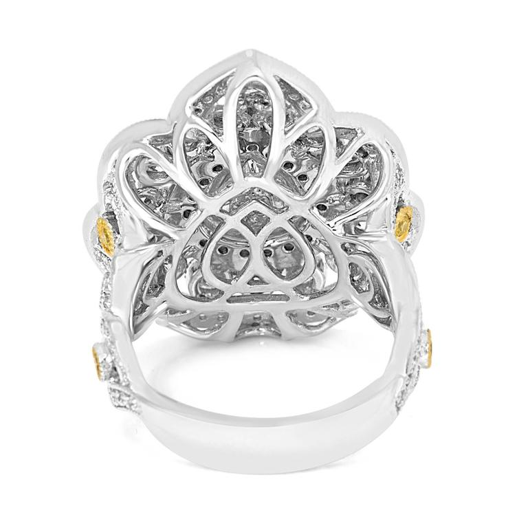 Rose Cut Diamond Double Halo Two-Color Gold Cocktail Ring For Sale 2