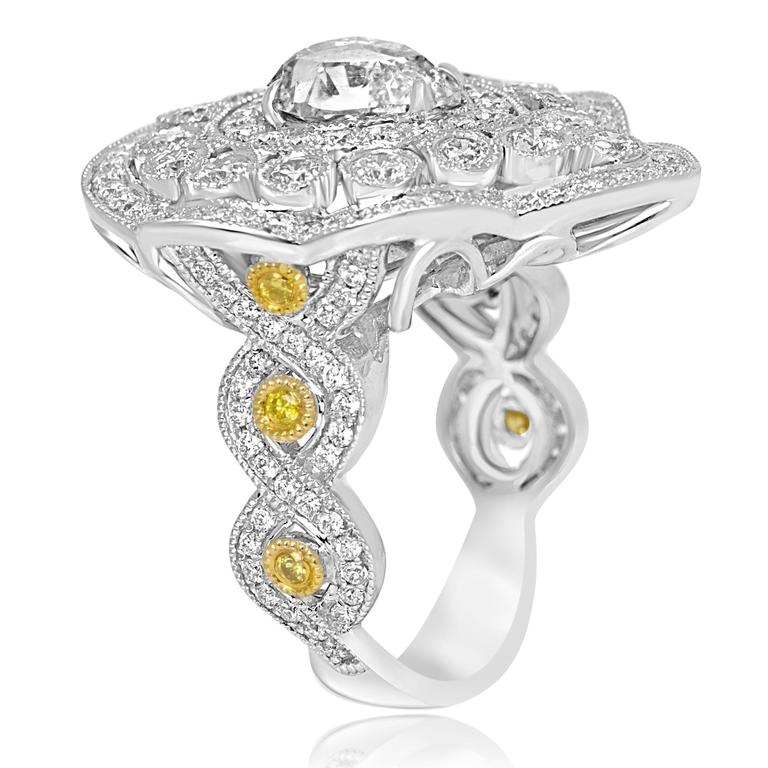 Rose Cut Diamond Double Halo Two-Color Gold Cocktail Ring In New Condition For Sale In NEW YORK, NY