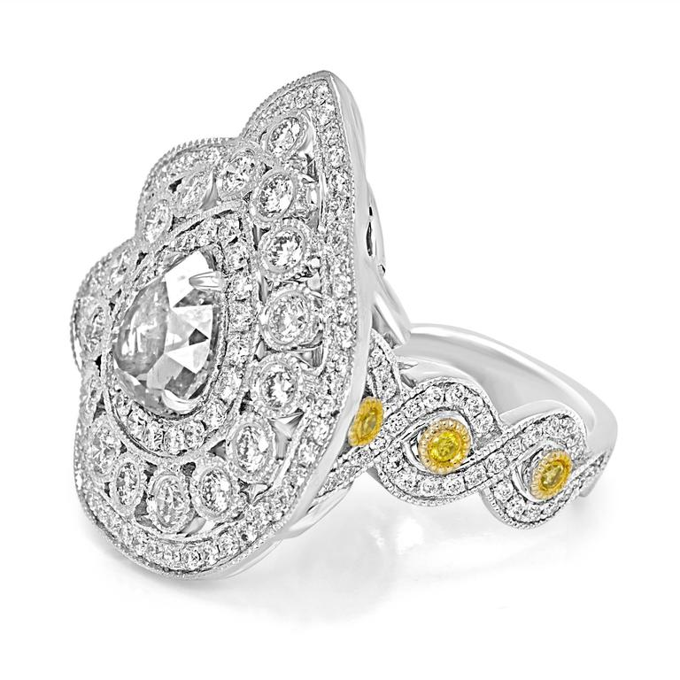 Contemporary Rose Cut Diamond Double Halo Two-Color Gold Cocktail Ring For Sale