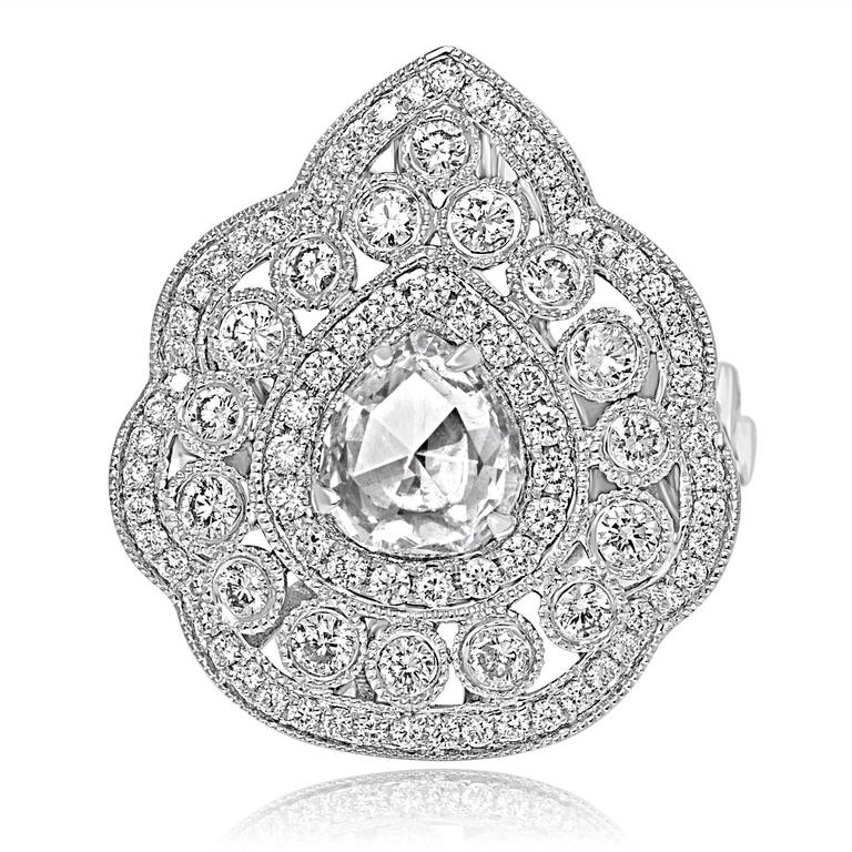 Rose Cut Diamond Double Halo Two-Color Gold Cocktail Ring For Sale 1