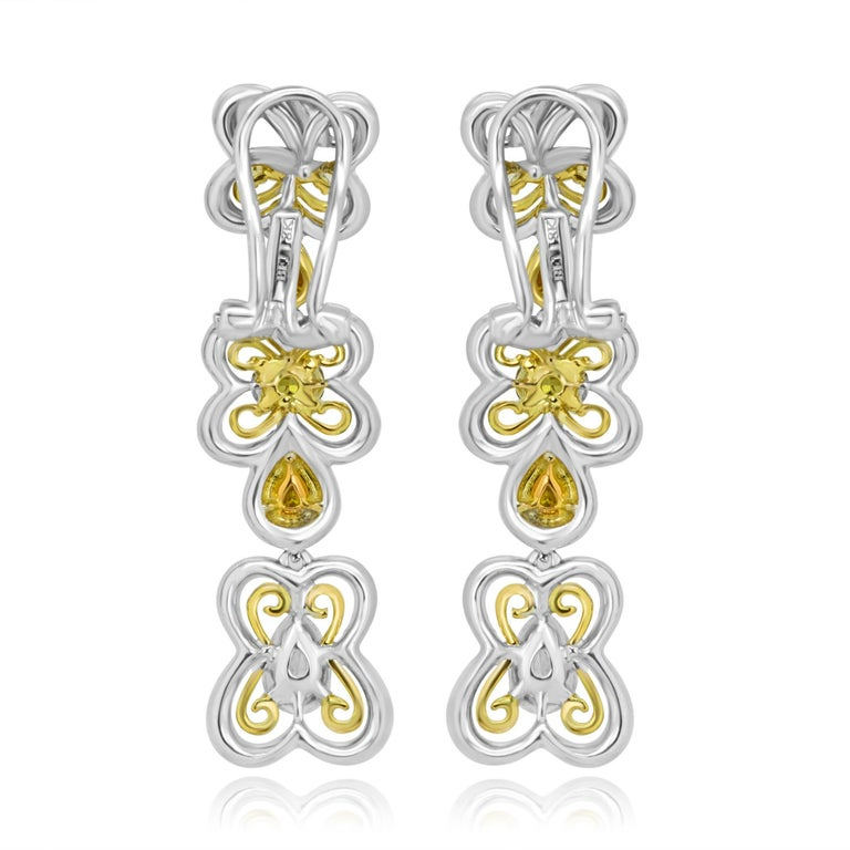 Contemporary Natural Multi-Color Diamond Two Color Gold Dangling Lever Back Earring For Sale
