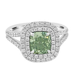 GIA Certified Natural Fancy Green Cushion Diamond Double Halo Gold Bridal Ring