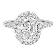 Certified 2.48 Carat Oval Diamond Halo White Gold Bridal Ring