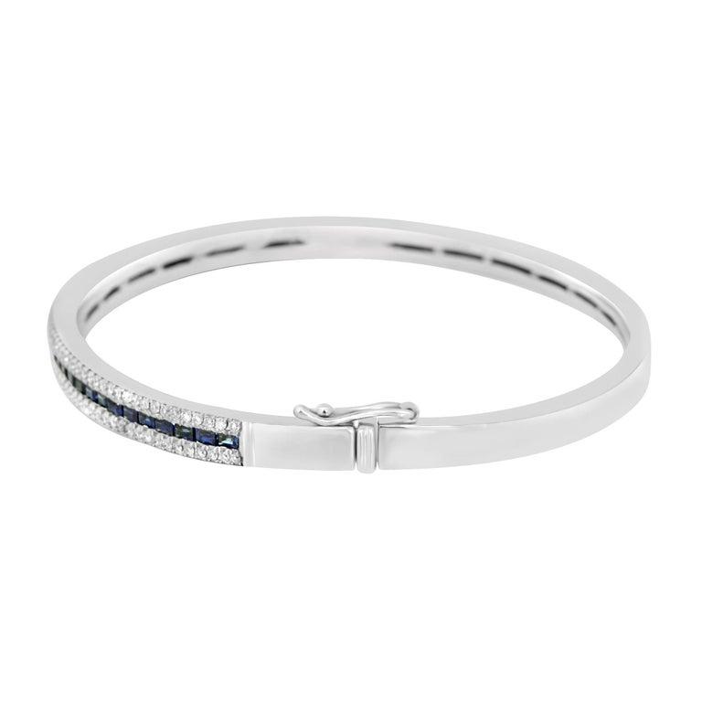 Modernist Blue Sapphire Diamond Gold Bangle Bracelet For Sale