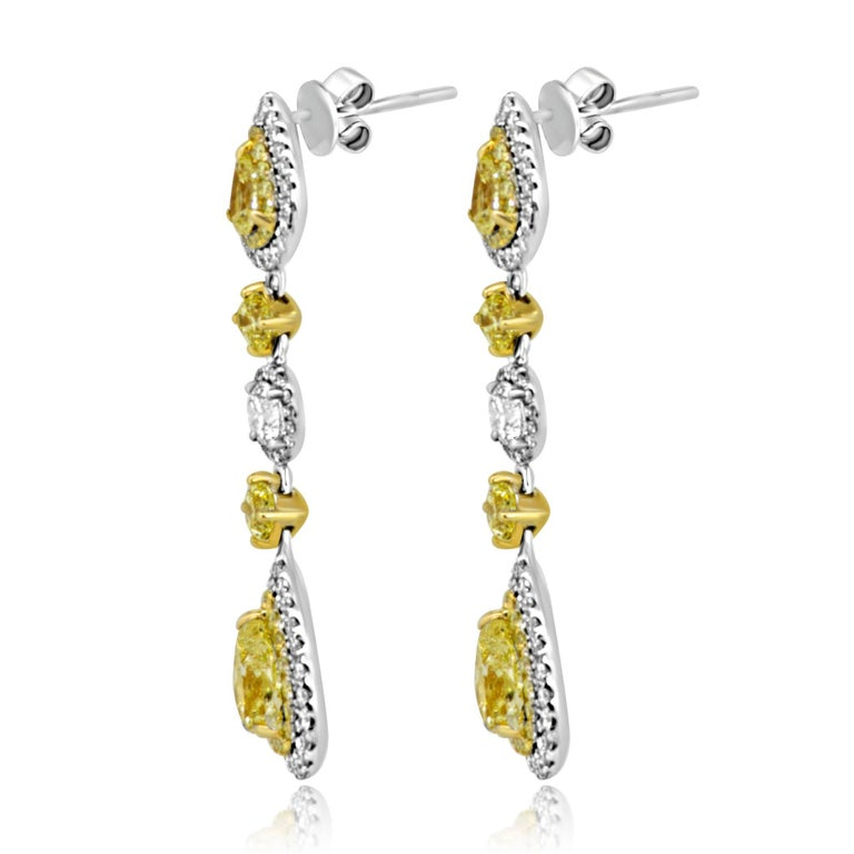 Natural Fancy Yellow Diamond Double Halo Two Color Gold Dangle Earring 2