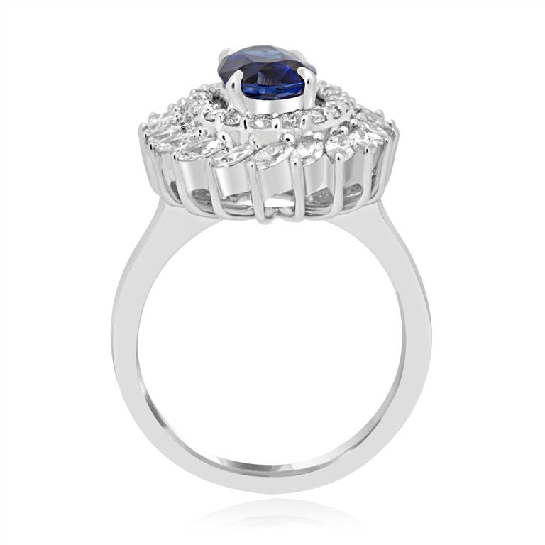 GIA Certified Blue Sapphire Diamond Double Halo Gold Fashion Cocktail Ring In New Condition For Sale In NEW YORK, NY
