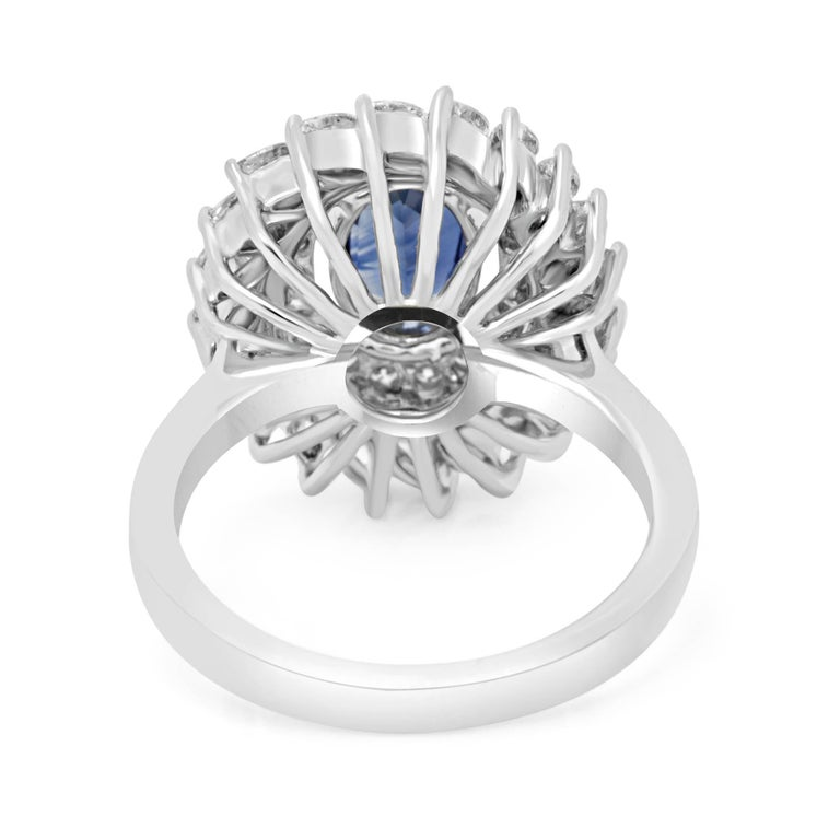 Women's or Men's GIA Certified Blue Sapphire Diamond Double Halo Gold Fashion Cocktail Ring For Sale