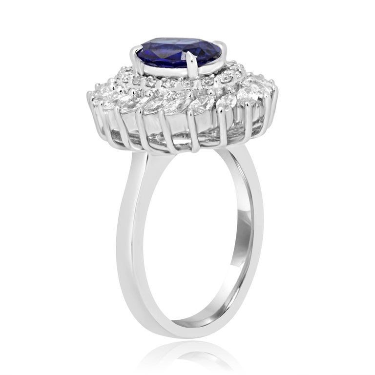 Modern GIA Certified Blue Sapphire Diamond Double Halo Gold Fashion Cocktail Ring For Sale