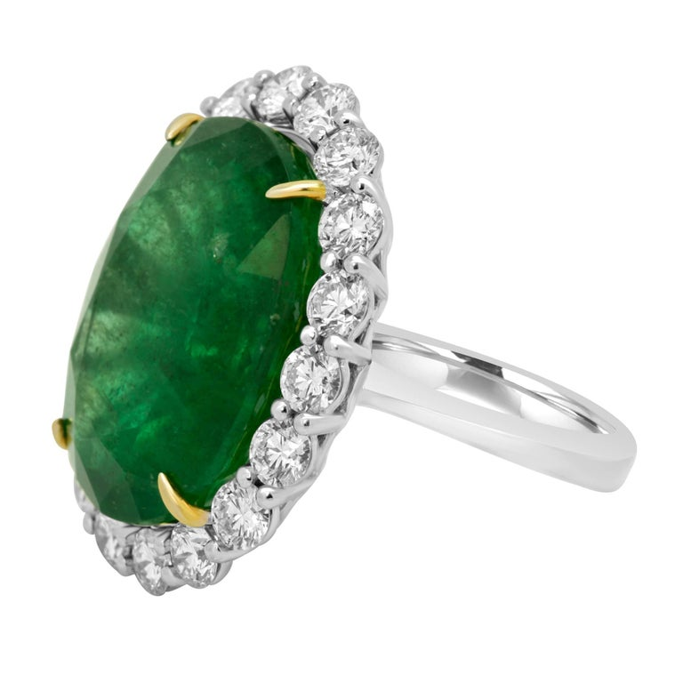 GIA Certified 19.78 Carat Zambian Emerald Diamond Halo Two Color Gold Ring 3