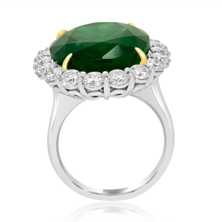 GIA Certified 19.78 Carat Zambian Emerald Diamond Halo Two Color Gold Ring 4