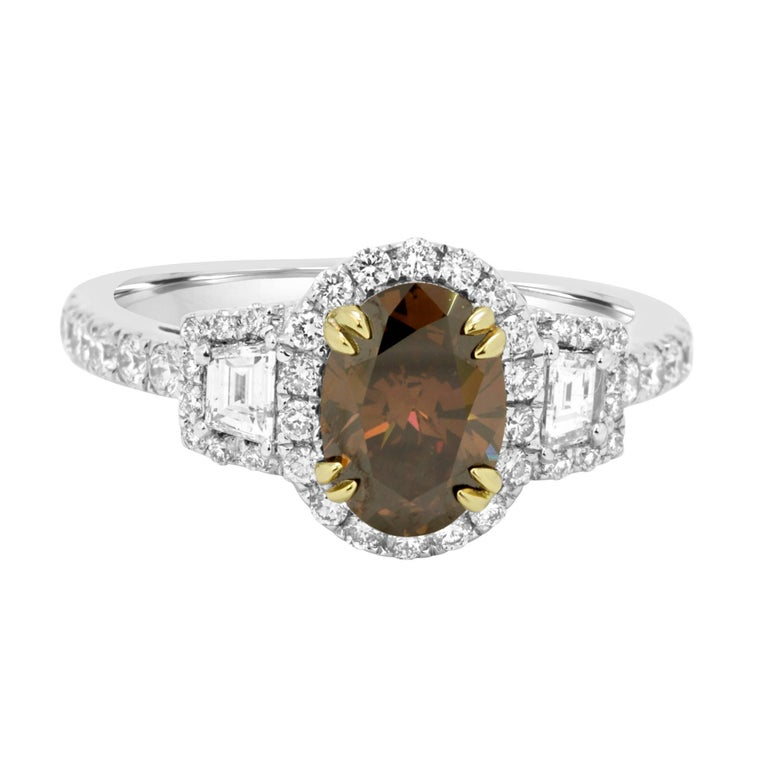 Natural Oval Cognac Diamond Halo Two-Color Gold Engagement Ring