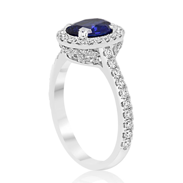 Oval Cut Blue Sapphire Oval Single Halo Diamond Gold Ring For Sale