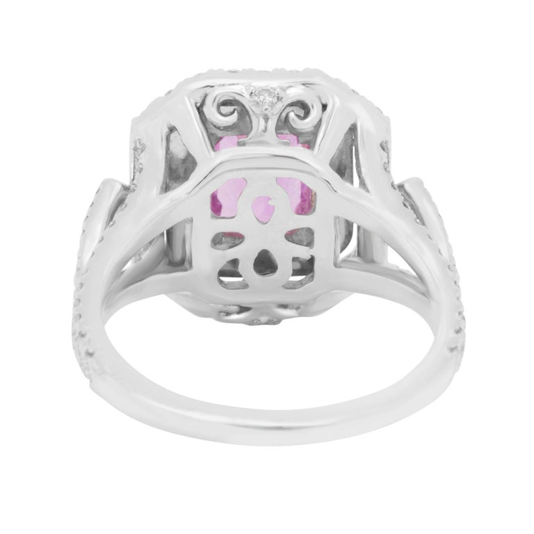 Women's GIA Certified No Heat Pink Sapphire Diamond Double Halo Ring For Sale