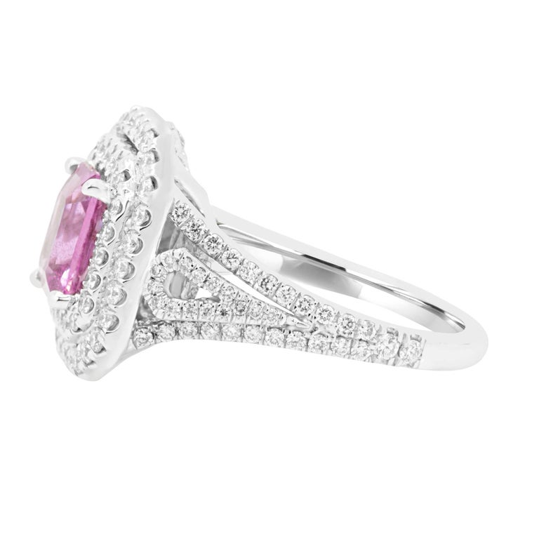 Emerald Cut GIA Certified No Heat Pink Sapphire Diamond Double Halo Ring For Sale