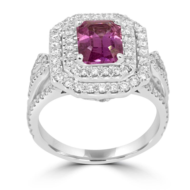 Modern GIA Certified No Heat Pink Sapphire Diamond Double Halo Ring For Sale