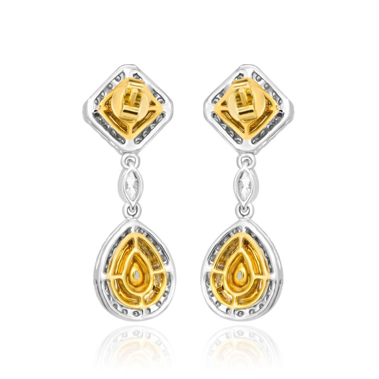 Natural Fancy Yellow Diamond Double Halo Two-Color Gold Earring In Excellent Condition For Sale In NEW YORK, NY