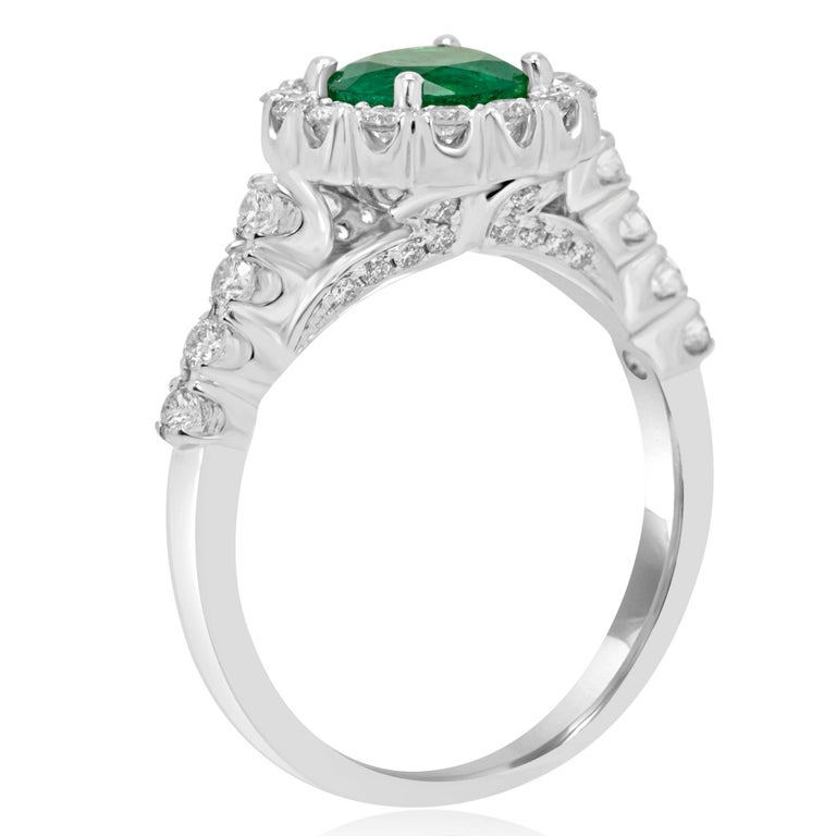Emerald Diamond Halo Gold Bridal Ring In Excellent Condition For Sale In NEW YORK, NY