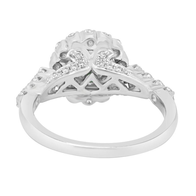 Women's Emerald Diamond Halo Gold Bridal Ring For Sale