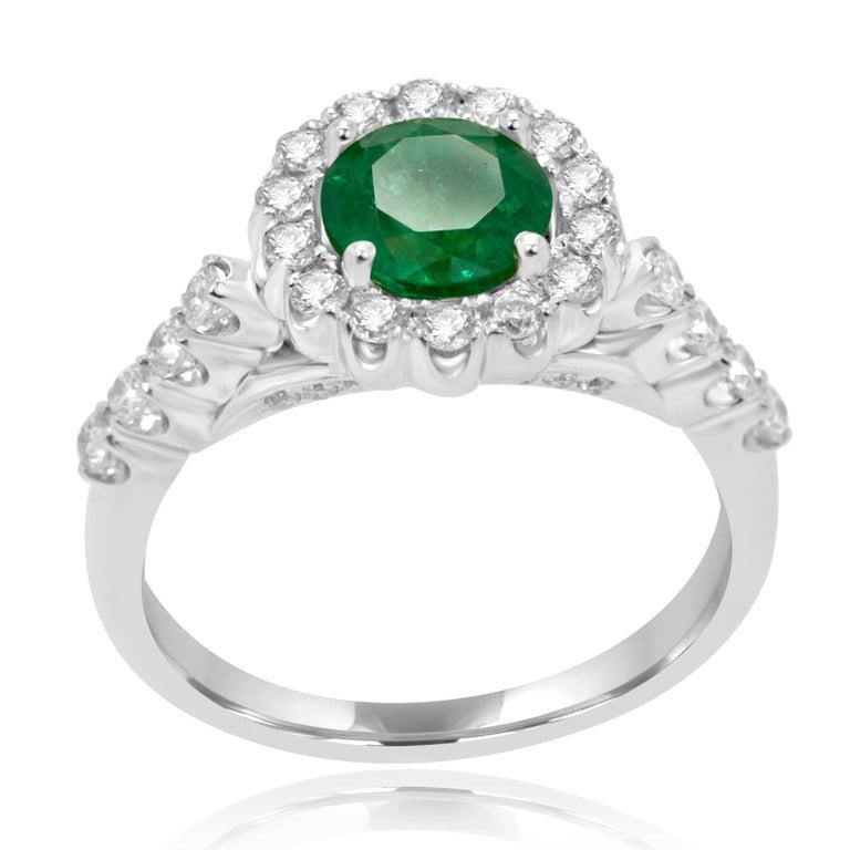 Modern Emerald Diamond Halo Gold Bridal Ring For Sale